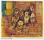 Paul Klee: Kinder und Hund - színverzió 1. (id: 12118) vászonkép