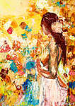 Absztrakt festmény lány (id: 13218) vászonkép óra