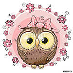 Owl with flowers (id: 19018) falikép keretezve