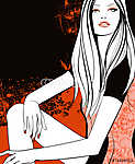 Fiatal csinos, narancssárga lány (id: 5118) többrészes vászonkép