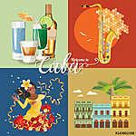 Kuba látványosság és látnivalók - utazási képeslap fogalom. Vect (id: 12719)