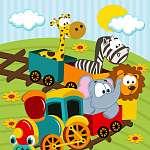 állatok vonattal - vektoros illusztráció (id: 4519) többrészes vászonkép