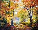 olajfestmény vásznon - őszi erdő (id: 9819) vászonkép