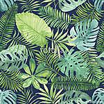 Trópusi zökkenőmentes mintázat levelekkel. Akvarell háttér (id: 11620) többrészes vászonkép