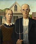 Grant Wood: Amerikai gótika (id: 19520) vászonkép óra