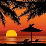 Partner Kollekció: Nyaralás, nyugalom - naplemente (id: 20420) vászonkép óra