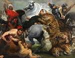 Peter Paul Rubens: Tigris, oroszlán és leopárd vadászat (id: 21920) tapéta