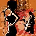 Jazz énekes szaxofonos és dupla basszusgitárokkal (id: 5120) falikép keretezve