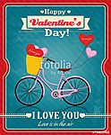 Vintage Valentine plakáttervezés ciklussal (id: 11821) vászonkép óra