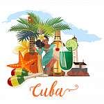Kuba látványosság és látnivalók - utazási képeslap fogalom. Vect (id: 12721) vászonkép