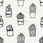 Hand Drawn Cactus Pattern (id: 15021)