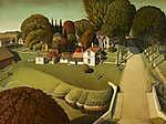 Grant Wood: Herbert Hoover szülőhelye (id: 19521) vászonkép óra