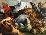 Peter Paul Rubens: Tigris, oroszlán és leopárd vadászat (színverzió 2) (id: 21921) tapéta