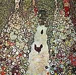 Gustav Klimt: Kerti ösvény tyúkokkal (id: 2421) tapéta