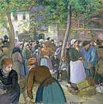 Camille Pissarro: Baromfi piac Gisors-ban (id: 2721) vászonkép