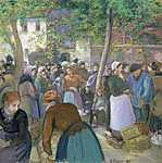 Camille Pissarro: Baromfi piac Gisors-ban (id: 2721) tapéta