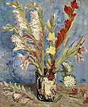 Vincent Van Gogh: Kardvirág és őszirózsák vázában (id: 2921) vászonkép óra