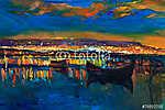 Kikötői fények este (id: 4221) vászonkép óra