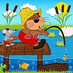 macska egér halászat - vektoros illusztráció, eps (id: 4521) vászonkép óra