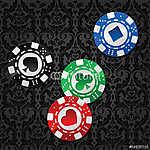 négy póker zseton (id: 6021) vászonkép