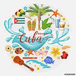 Kuba látványosság és látnivalók - utazási képeslap fogalom. Vect (id: 12722)