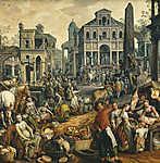 Joachim Beuckelaer: Ecce Homo - Piaci jelenet (id: 19722) vászonkép óra