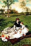 James Tissot: Anya és gyermekei (id: 20322) vászonkép óra