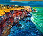 Sziklák és óceán (id: 4222) falikép keretezve