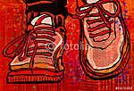 Kosárlabda cipő egy grunge város háttérén (id: 5122) poszter