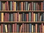 Vintage books on bookshelf. Old books tiled seamless texture bac (id: 13423)