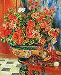 Pierre Auguste Renoir: Muskátli és macskák (id: 1423) falikép keretezve
