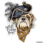 Bulldog portrait in a Pirates Hat and with neckerchief. Vector i (id: 14423) többrészes vászonkép