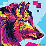 Wolf head pop art illustration style (id: 15623)