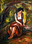 Iványi-Grünwald Béla: Lány virágcsokorral (id: 19823) falikép keretezve