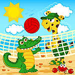 zsiráf krokodil játszik a strandon röplabda - vektor, eps (id: 4523) vászonkép óra