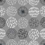 Seamless pattern with hand drawn circle doodle stylish elements. (id: 14224)