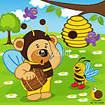 mackó öltözött, méhek a mézes eps (id: 4524) többrészes vászonkép