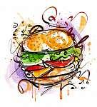 Sajtburger rajz (id: 10325) vászonkép óra