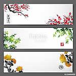 Három, virágzó sakura, bambusz és krizantém bannerek.  (id: 10525)