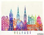 Belfast landmarks watercolor poster (id: 15225) vászonkép