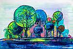Trees, oil painting, artistic background (id: 16025) többrészes vászonkép