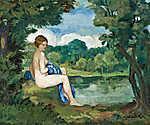 Iványi-Grünwald Béla: Női akt a tóparton (id: 19825) falikép keretezve