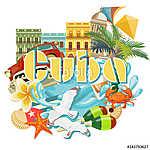Kuba látványosság és látnivalók - utazási képeslap fogalom. Vect (id: 12726)
