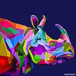 colorful rhinoceros on pop art (id: 15626) többrészes vászonkép
