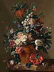 Jan van Huysum: Virágcsokor vázában (id: 18626) többrészes vászonkép