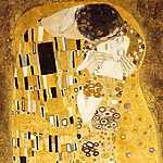 Gustav Klimt: A csók (részlet) - bicolor színverzió (id: 4126) vászonkép