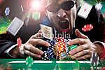 Póker játékos színes por háttérrel (id: 6026) poszter