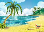 strand pálmafákkal (id: 12527) többrészes vászonkép