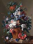 Jan van Huysum: Virágcsokor vázában - színverzió 1. (id: 18627) többrészes vászonkép