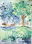 Berthe Morisot: Lovaskocsi Bois de Boulogne-ban (id: 1927) tapéta